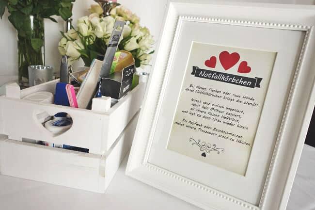 Notfallkörbchen für die Hochzeitsfeier