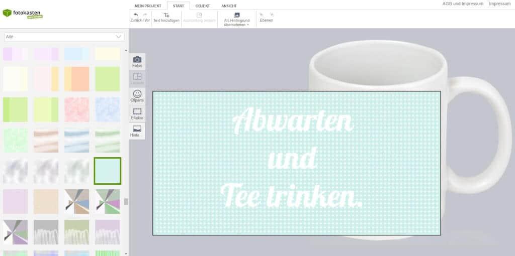 Tasse mit Schrift bedrucken