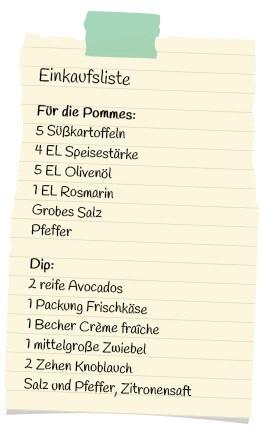 Einkaufsliste Süßkartoffelpommes