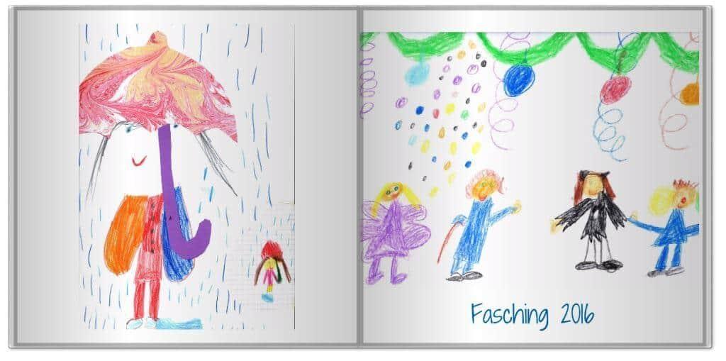 Kinderzeichnung im Fotobuch